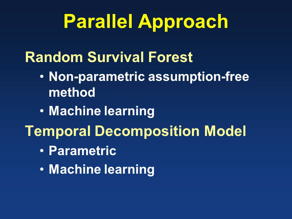 Parallel Approach Random Survival Forest Non-parametric assumption-free method Machine learning Temporal Decomposition Model Parametric Machine learning