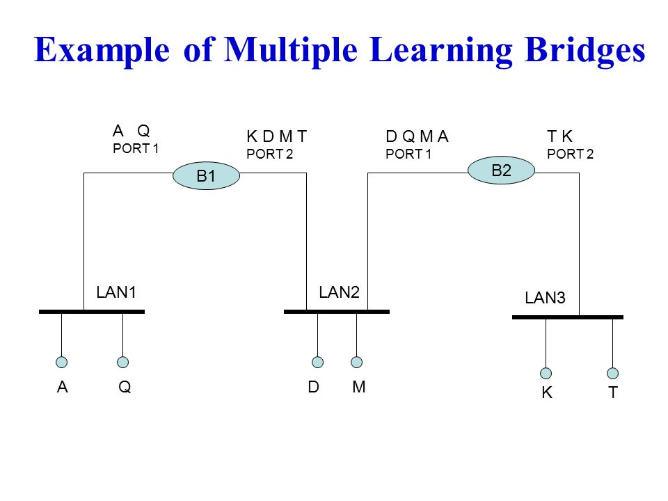 Example of Multiple Learning Bridges A B1 T B2 MDQ K A Q PORT 1 K D M T PORT 2 D Q M A PORT 1 T K PORT 2 LAN2LAN1 LAN3