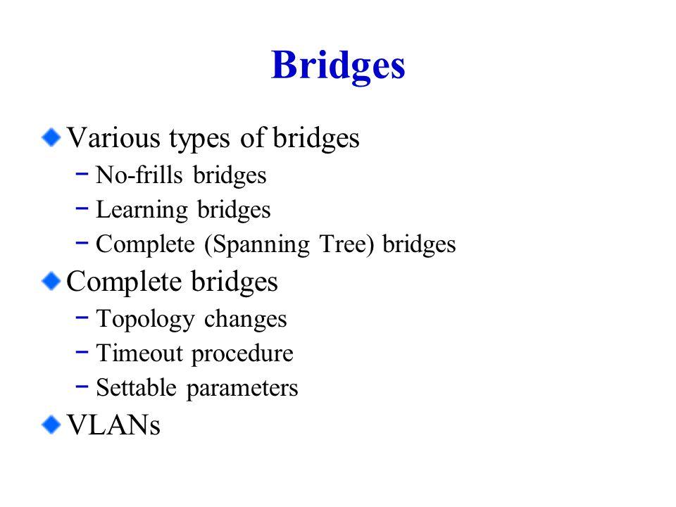 No-frills Bridges Serve to extend the size of a single LAN segment, i.e.