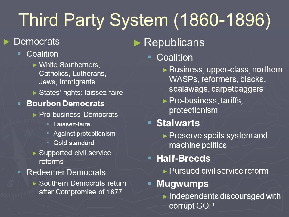 Third Party System (1860-1896) ► ► Democrats   Coalition ► ► White Southerners, Catholics, Lutherans, Jews, Immigrants ► ► States' rights; laissez-faire   Bourbon Democrats ► ► Pro-business Democrats   Laissez-faire   Against protectionism   Gold standard ► ► Supported civil service reforms   Redeemer Democrats ► ► Southern Democrats return after Compromise of 1877 ► ► Republicans   Coalition ► ► Business, upper-class, northern WASPs, reformers, blacks, scalawags, carpetbaggers ► ► Pro-business; tariffs; protectionism   Stalwarts ► ► Preserve spoils system and machine politics   Half-Breeds ► ► Pursued civil service reform   Mugwumps ► ► Independents discouraged with corrupt GOP