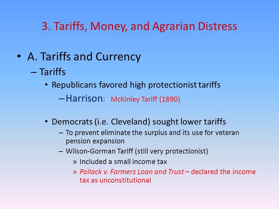 3. Tariffs, Money, and Agrarian Distress A.