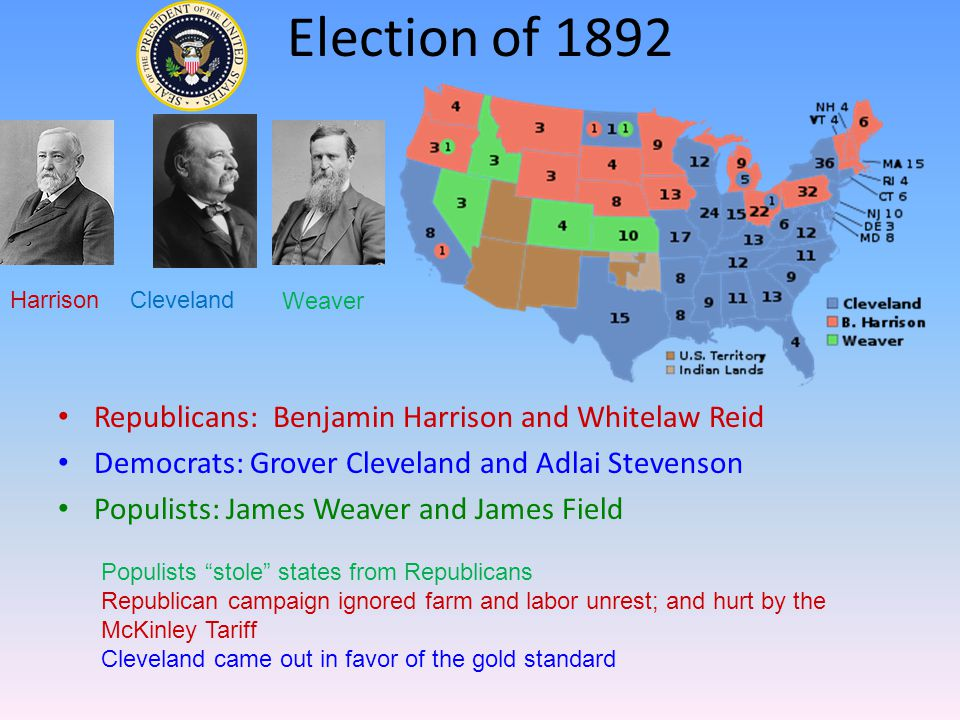 Election of 1892 Republicans: Benjamin Harrison and Whitelaw Reid Democrats: Grover Cleveland and Adlai Stevenson Populists: James Weaver and James Field HarrisonCleveland Weaver Populists stole states from Republicans Republican campaign ignored farm and labor unrest; and hurt by the McKinley Tariff Cleveland came out in favor of the gold standard