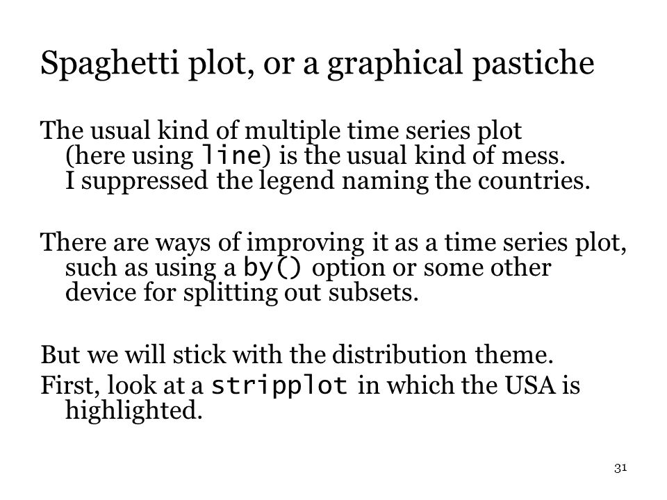 31 Spaghetti plot, or a graphical pastiche The usual kind of multiple time series plot (here using line ) is the usual kind of mess.