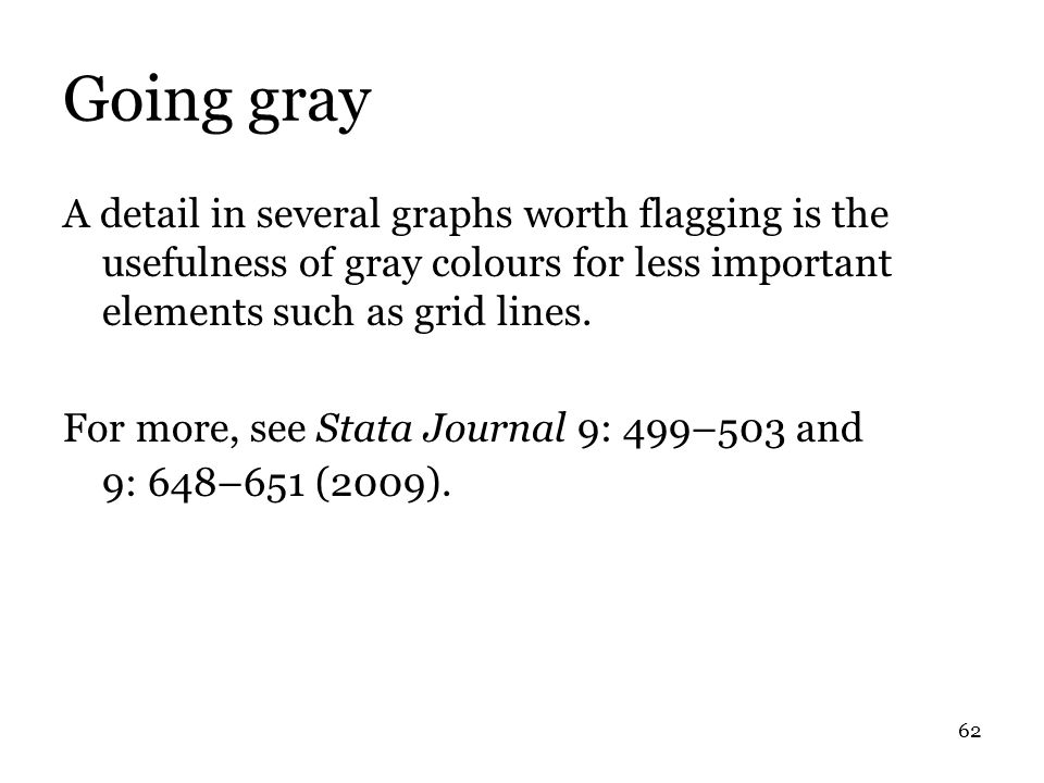 62 Going gray A detail in several graphs worth flagging is the usefulness of gray colours for less important elements such as grid lines.