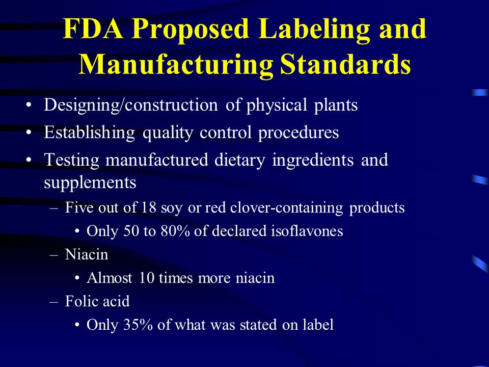 FDA Proposed Labeling and Manufacturing Standards Designing/construction of physical plants Establishing quality control procedures Testing manufactured dietary ingredients and supplements –Five out of 18 soy or red clover-containing products Only 50 to 80% of declared isoflavones –Niacin Almost 10 times more niacin –Folic acid Only 35% of what was stated on label