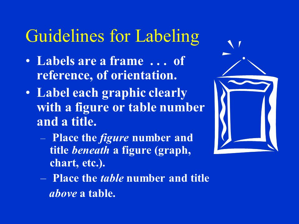 Guidelines for Labeling Labels are a frame... of reference, of orientation.