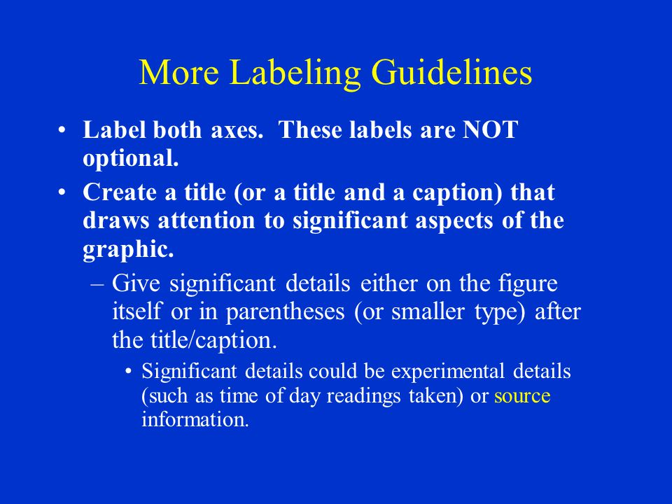 More Labeling Guidelines Label both axes. These labels are NOT optional.