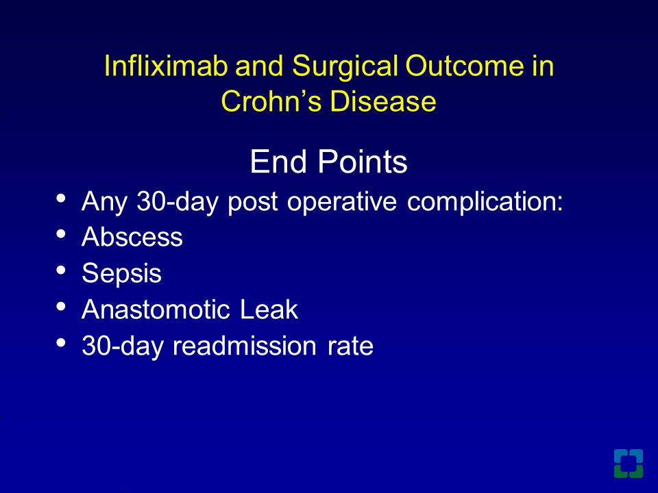 Infliximab and Surgical Outcome in Crohn's Disease End Points Any 30-day post operative complication: Abscess Sepsis Anastomotic Leak 30-day readmission rate