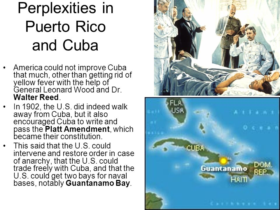 Perplexities in Puerto Rico and Cuba America could not improve Cuba that much, other than getting rid of yellow fever with the help of General Leonard