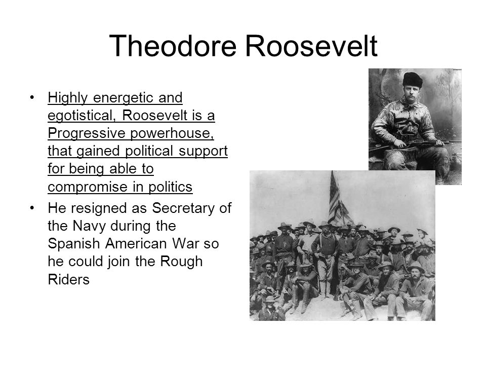 Theodore Roosevelt Highly energetic and egotistical, Roosevelt is a Progressive powerhouse, that gained political support for being able to compromise