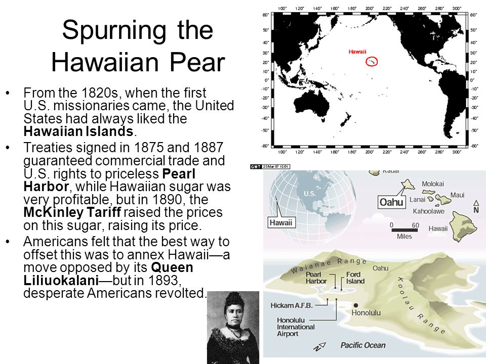 Spurning the Hawaiian Pear They succeeded, and Hawaii seemed ready for annexation, but Grover Cleveland became president again, investigated the coup, found it to be wrong, that Hawaiians did not ant to be part or the U.S.