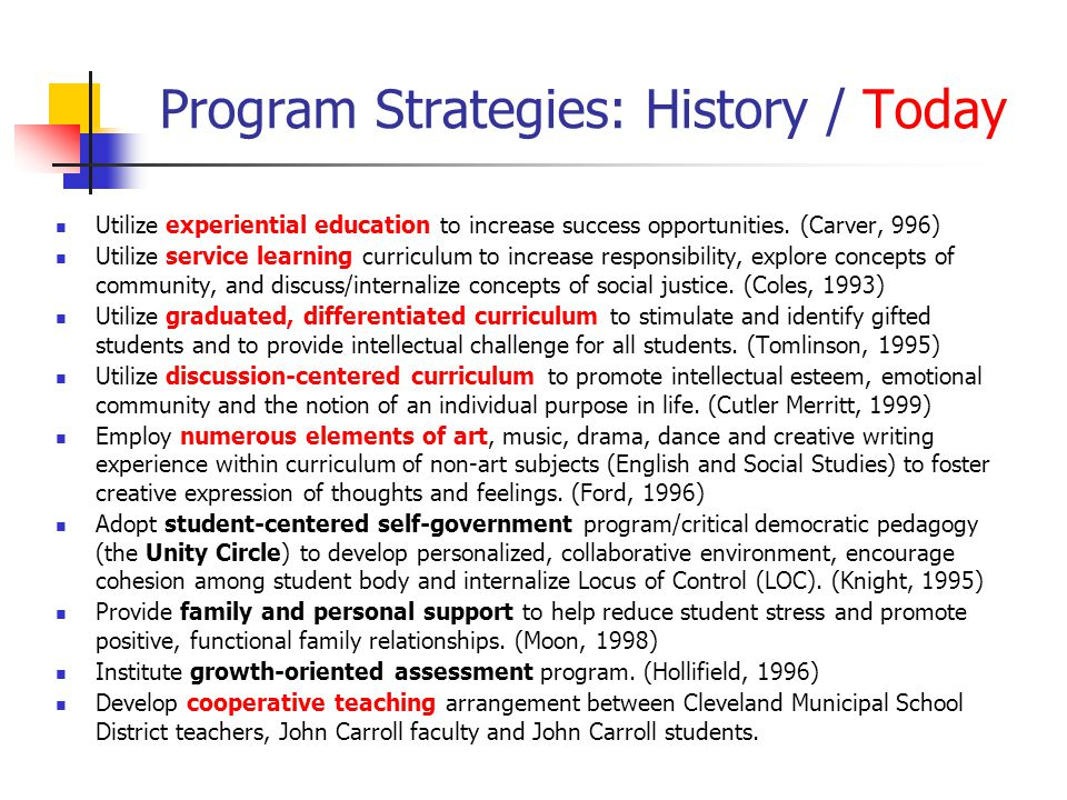 Program Strategies: History / Today Utilize experiential education to increase success opportunities.