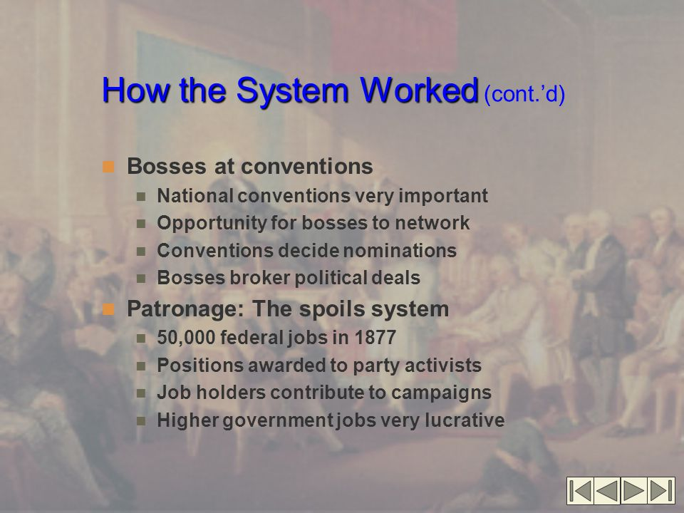 How the System Worked How the System Worked (cont.'d) Bosses at conventions National conventions very important Opportunity for bosses to network Conv