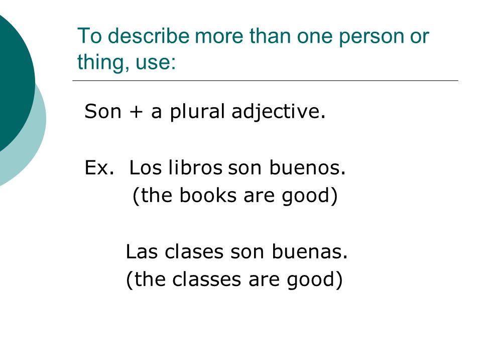 To describe more than one person or thing, use: Son + a plural adjective.