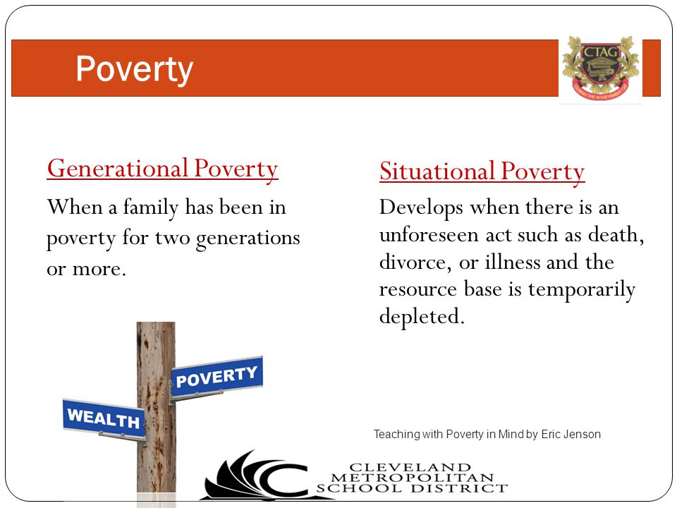 Generational Poverty When a family has been in poverty for two generations or more.