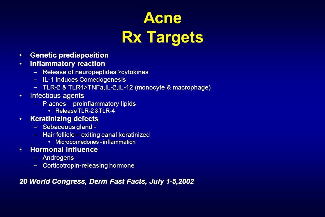 Acne Rx Targets Genetic predisposition Inflammatory reaction –Release of neuropeptides >cytokines –IL-1 induces Comedogenesis –TLR-2 & TLR4>TNFa,IL-2,