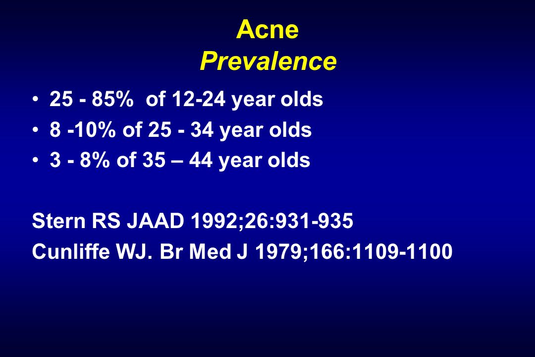 Acne Prevalence 25 - 85% of 12-24 year olds 8 -10% of 25 - 34 year olds 3 - 8% of 35 – 44 year olds Stern RS JAAD 1992;26:931-935 Cunliffe WJ.