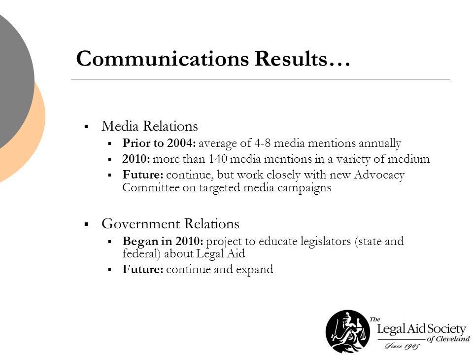 Communications Results…  Media Relations  Prior to 2004: average of 4-8 media mentions annually  2010: more than 140 media mentions in a variety of medium  Future: continue, but work closely with new Advocacy Committee on targeted media campaigns  Government Relations  Began in 2010: project to educate legislators (state and federal) about Legal Aid  Future: continue and expand