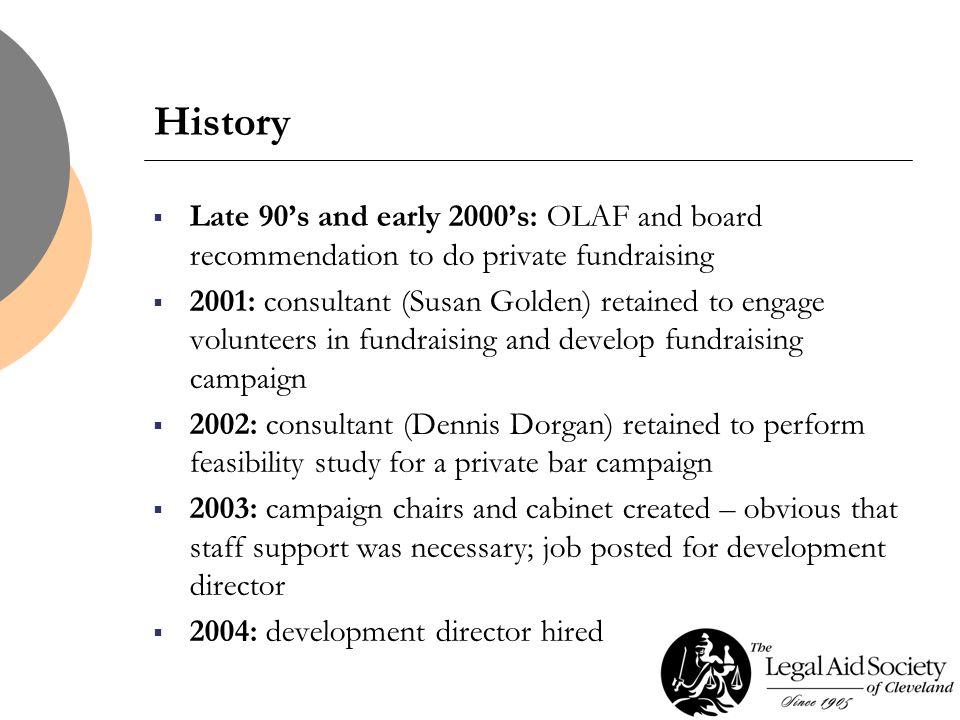 History  Late 90's and early 2000's: OLAF and board recommendation to do private fundraising  2001: consultant (Susan Golden) retained to engage volunteers in fundraising and develop fundraising campaign  2002: consultant (Dennis Dorgan) retained to perform feasibility study for a private bar campaign  2003: campaign chairs and cabinet created – obvious that staff support was necessary; job posted for development director  2004: development director hired