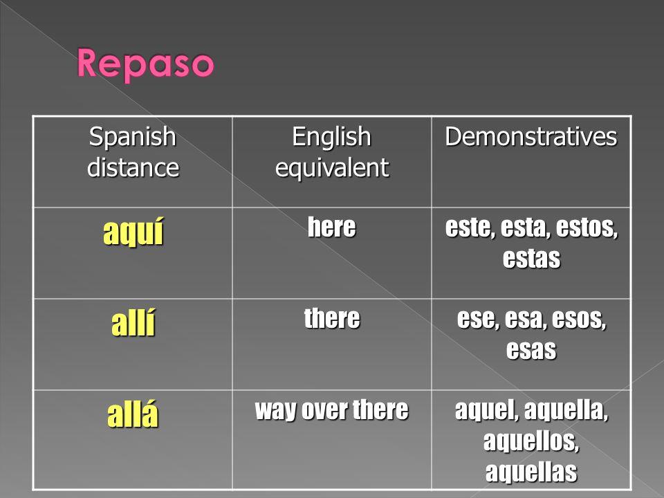 Spanish distance English equivalent Demonstrativesaquíhere este, esta, estos, estas allíthere ese, esa, esos, esas allá way over there aquel, aquella,