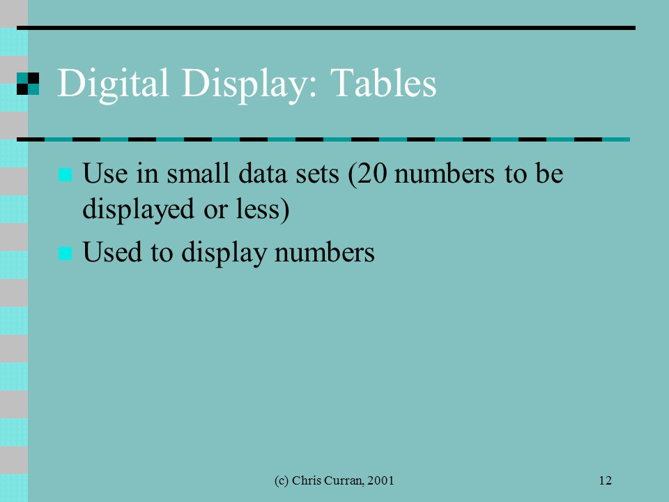 (c) Chris Curran, 200112 Digital Display: Tables Use in small data sets (20 numbers to be displayed or less) Used to display numbers