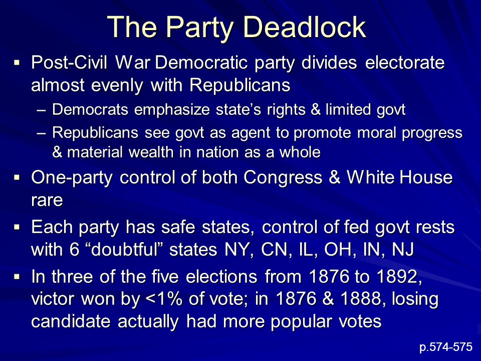 The Party Deadlock  Post-Civil War Democratic party divides electorate almost evenly with Republicans –Democrats emphasize state's rights & limited govt –Republicans see govt as agent to promote moral progress & material wealth in nation as a whole  One-party control of both Congress & White House rare  Each party has safe states, control of fed govt rests with 6 doubtful states NY, CN, IL, OH, IN, NJ  In three of the five elections from 1876 to 1892, victor won by <1% of vote; in 1876 & 1888, losing candidate actually had more popular votes p.574-575