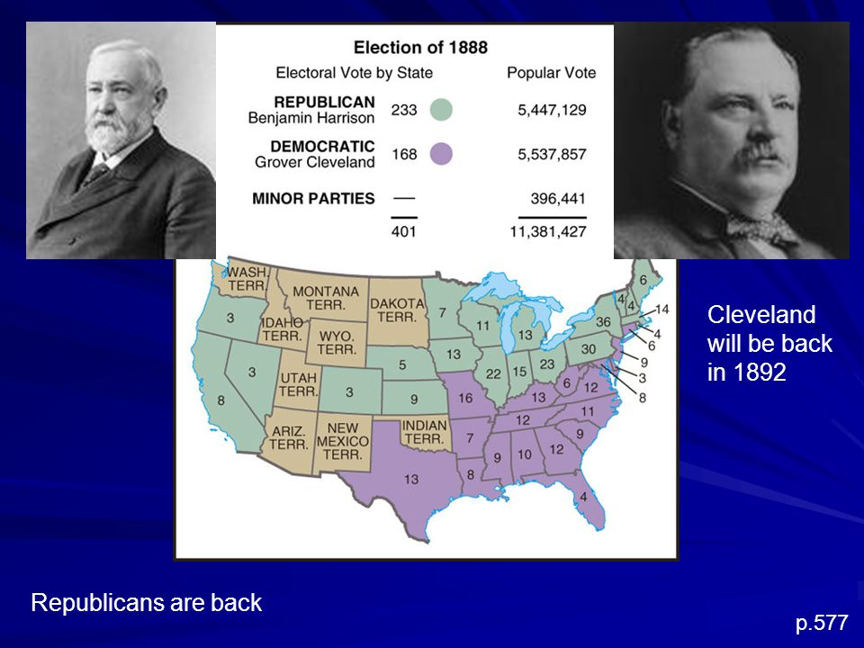 p.577 Cleveland will be back in 1892 Republicans are back