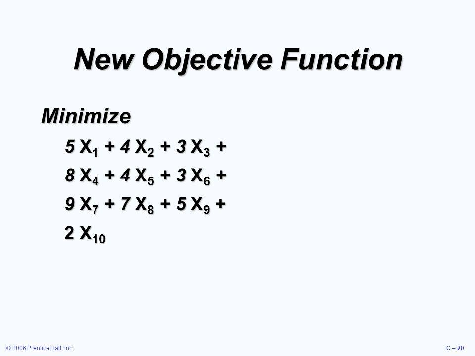 © 2006 Prentice Hall, Inc.C – 20 New Objective Function Minimize 5 X 1 + 4 X 2 + 3 X 3 + 8 X 4 + 4 X 5 + 3 X 6 + 9 X 7 + 7 X 8 + 5 X 9 + 2 X 10