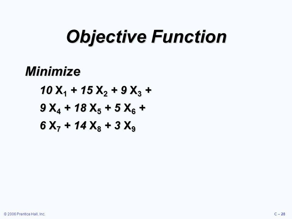 © 2006 Prentice Hall, Inc.C – 28 Objective Function Minimize 10 X 1 + 15 X 2 + 9 X 3 + 9 X 4 + 18 X 5 + 5 X 6 + 6 X 7 + 14 X 8 + 3 X 9