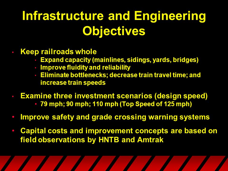 Keep railroads whole Expand capacity (mainlines, sidings, yards, bridges) Improve fluidity and reliability Eliminate bottlenecks; decrease train travel time; and increase train speeds Examine three investment scenarios (design speed) 79 mph; 90 mph; 110 mph (Top Speed of 125 mph) Improve safety and grade crossing warning systems Capital costs and improvement concepts are based on field observations by HNTB and Amtrak Infrastructure and Engineering Objectives