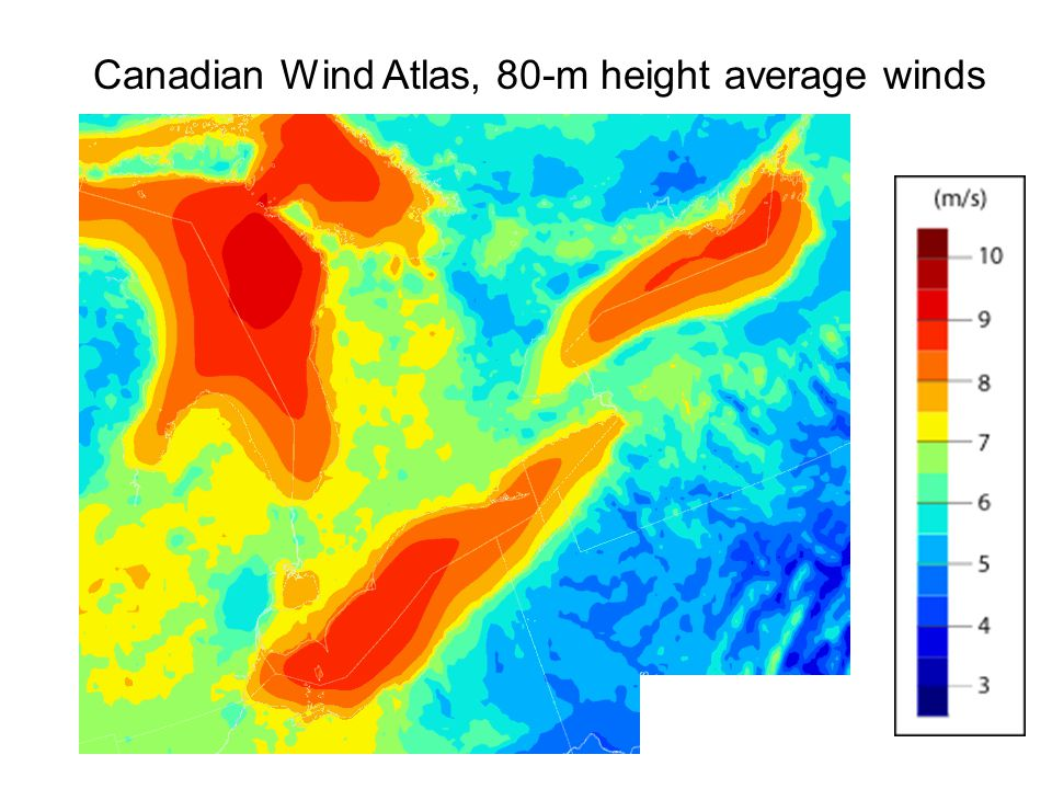 Canadian Wind Atlas, 80-m height average winds