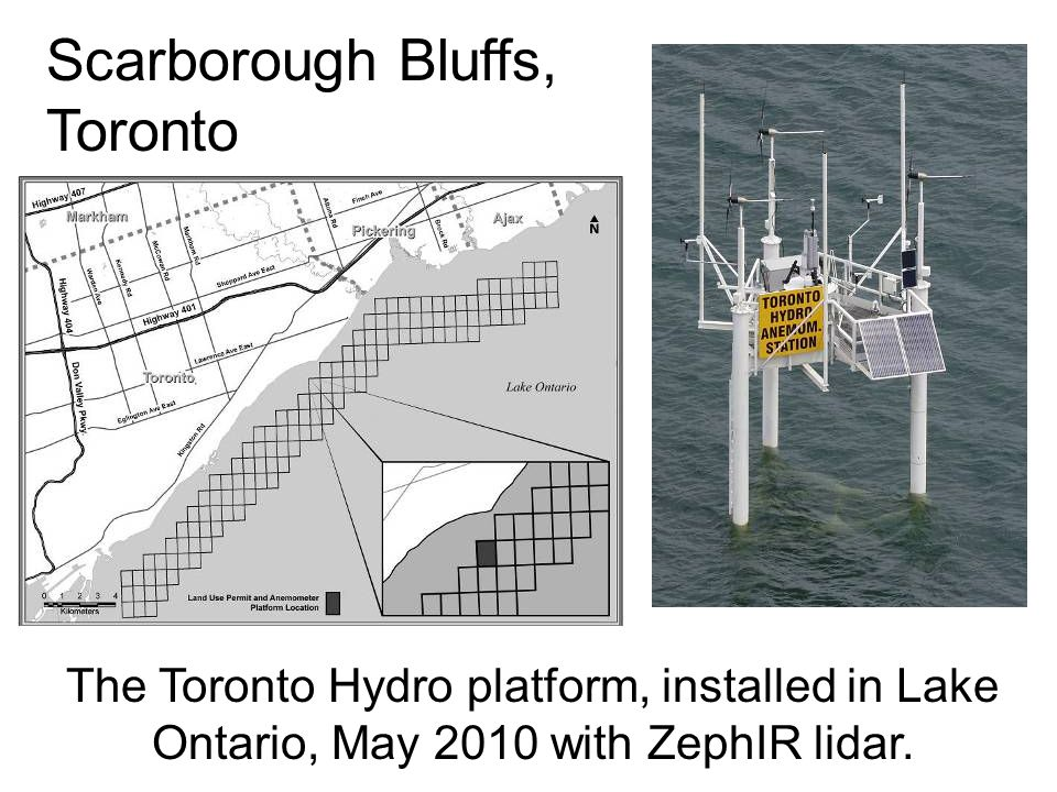 The Toronto Hydro platform, installed in Lake Ontario, May 2010 with ZephIR lidar. Scarborough Bluffs, Toronto