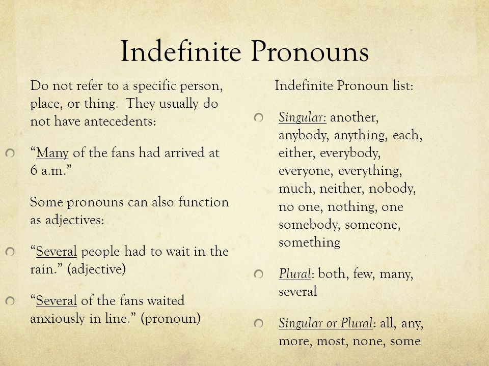 "Indefinite Pronouns Do not refer to a specific person, place, or thing. They usually do not have antecedents: ""Many of the fans had arrived at 6 a.m."""
