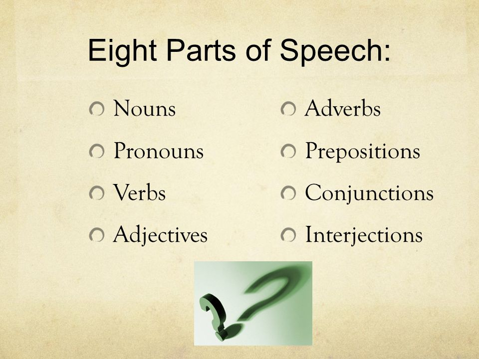 Eight Parts of Speech: Nouns Pronouns Verbs Adjectives Adverbs Prepositions Conjunctions Interjections