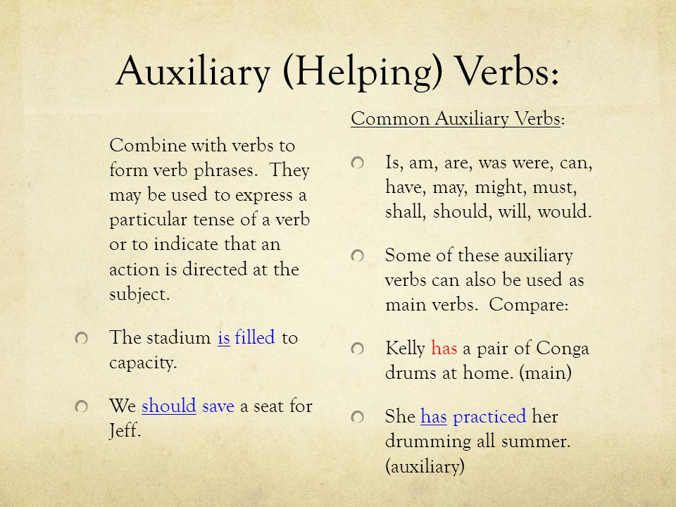 Auxiliary (Helping) Verbs: Combine with verbs to form verb phrases. They may be used to express a particular tense of a verb or to indicate that an ac