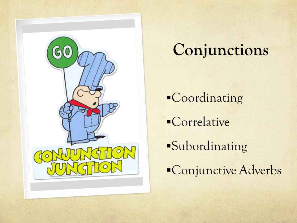 Conjunctions  Coordinating  Correlative  Subordinating  Conjunctive Adverbs