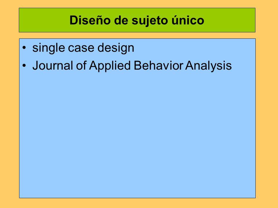 Diseño de sujeto único single case design Journal of Applied Behavior Analysis
