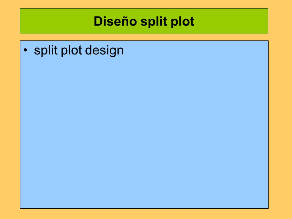 Diseño split plot split plot design
