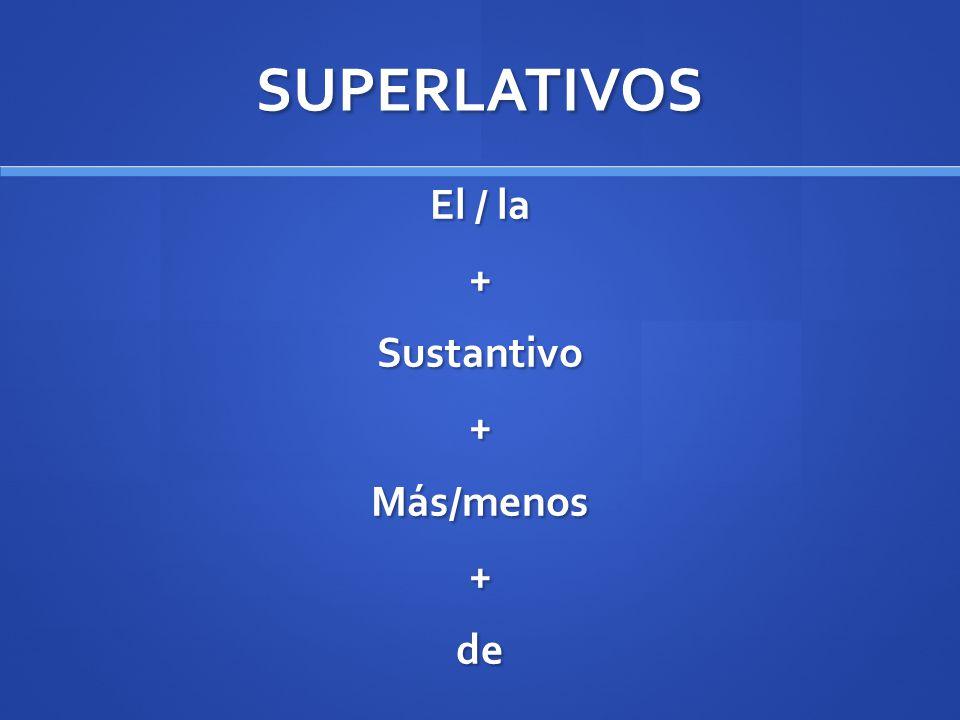 SUPERLATIVOS El / la +Sustantivo+Más/menos+de