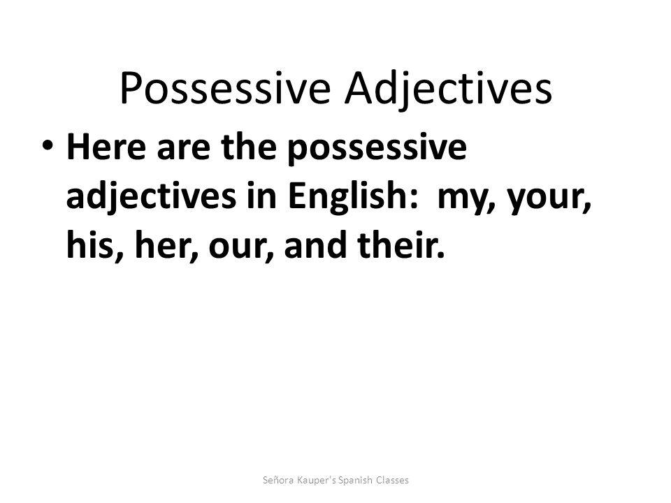 Possessive Adjectives Adjectives DESCRIBE nouns, correct.