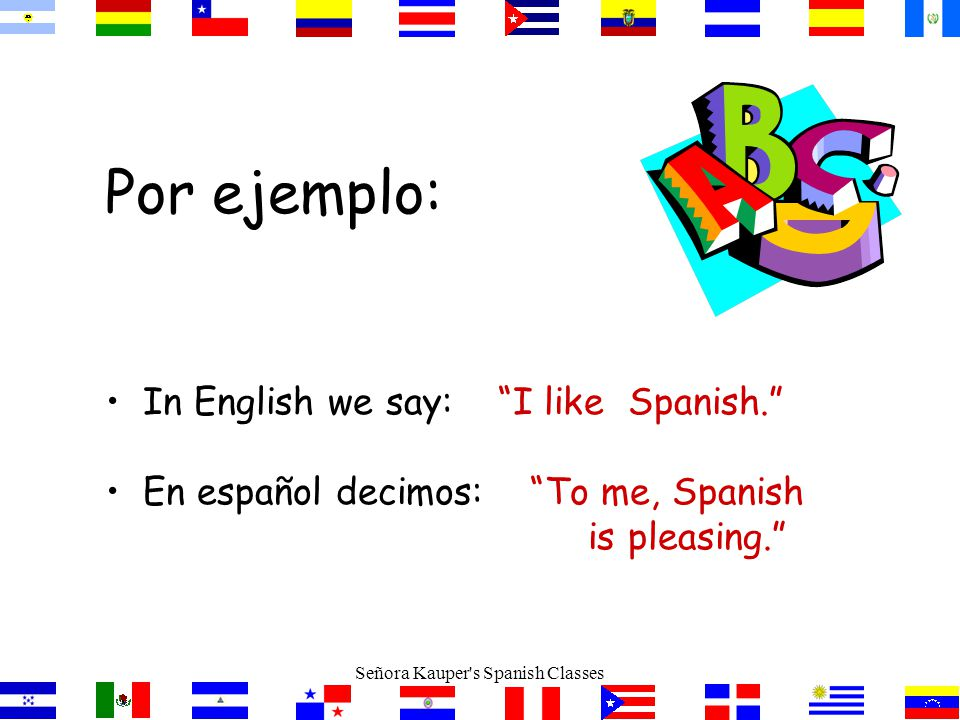 El Verbo GUSTAR En español gustar significa to be pleasing In English, the equivalent is to like Señora Kauper s Spanish Classes