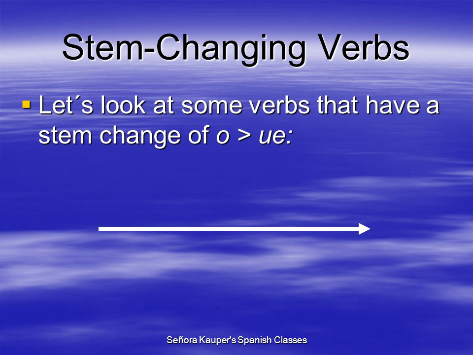 Stem-Changing Verbs (e > ie) empezar querer preferir pensar divertirse despertarse sentirse mentir cerrar comenzar entender to begin to want to prefer to think, plan to have fun to wake up to feel to lie to close to begin to understand Señora Kauper s Spanish Classes
