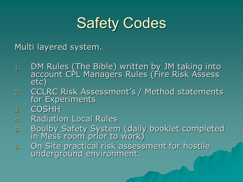 Safety Codes Multi layered system.1.