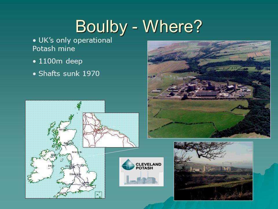 Boulby - Where? UK's only operational Potash mine 1100m deep Shafts sunk 1970