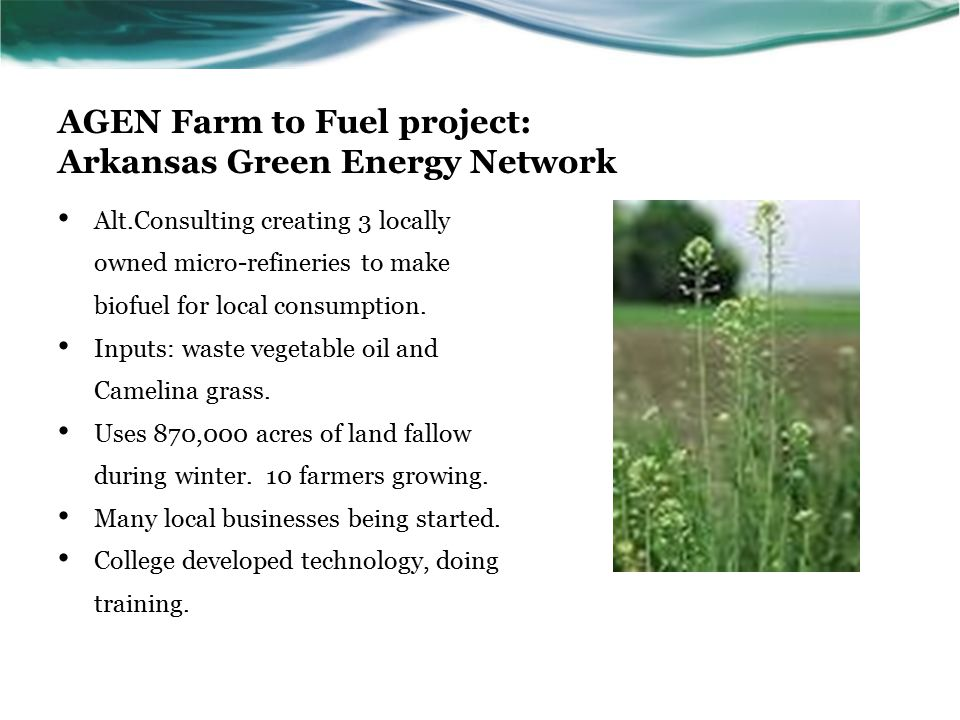 AGEN Farm to Fuel project: Arkansas Green Energy Network Alt.Consulting creating 3 locally owned micro-refineries to make biofuel for local consumption.