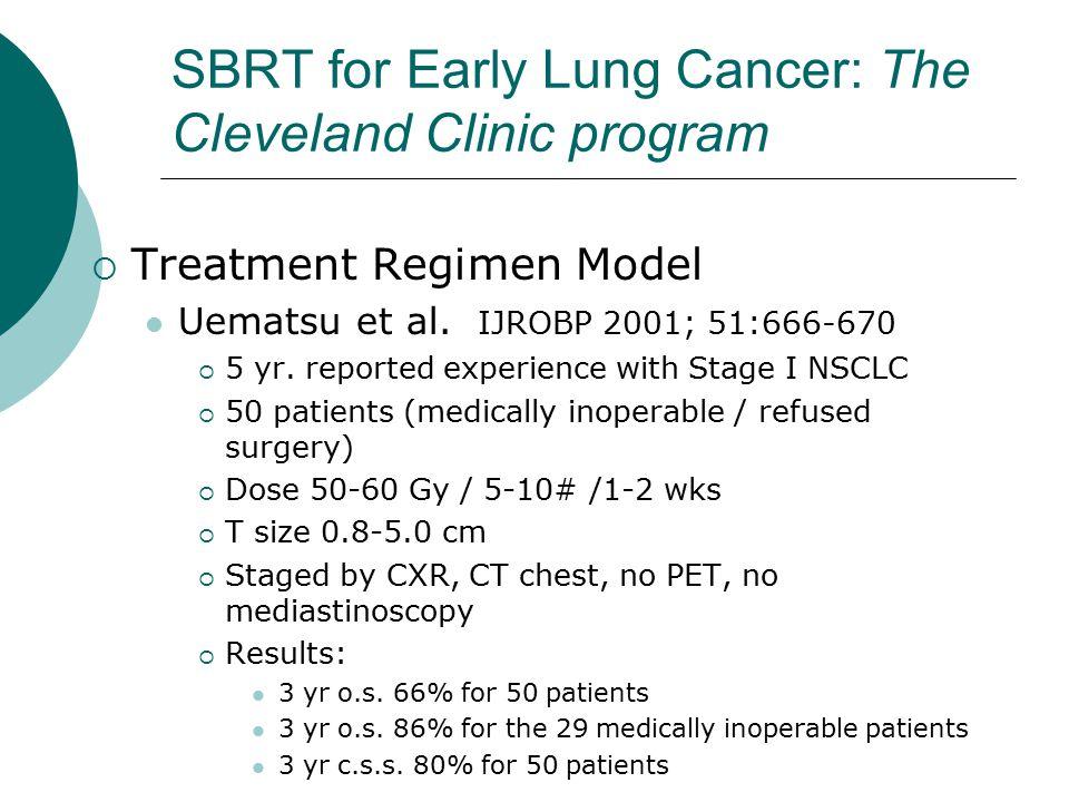 SBRT for Early Lung Cancer: The Cleveland Clinic program  Treatment Regimen Model Uematsu et al.