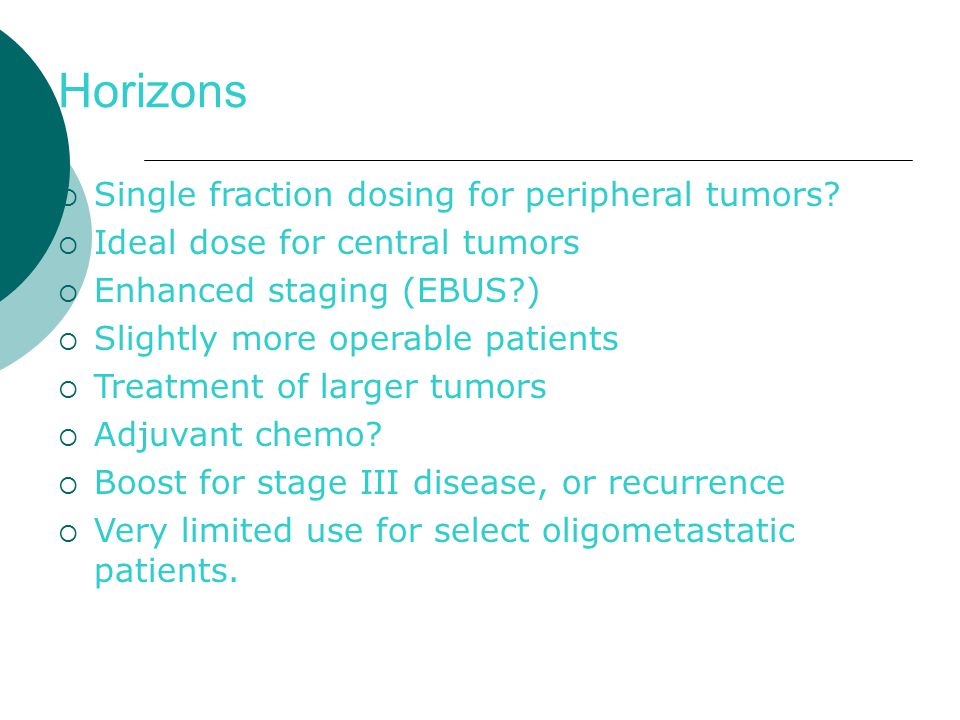 Horizons  Single fraction dosing for peripheral tumors.