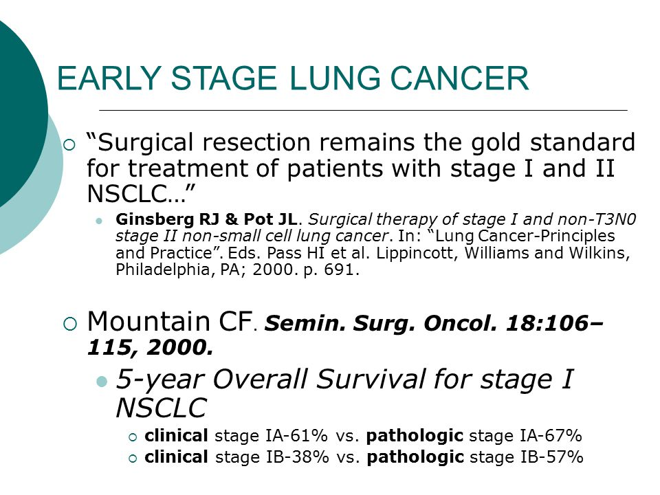SBRT and Early Lung Cancer  Interesting SBRT data from Japan in operable pts who declined surgery (Onishi et al)  5 year survivals for stage IA and IB comparable to surgery Stage IA=77% Stage IB=68%