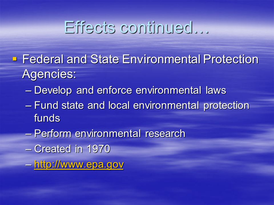 Effects continued…  Federal and State Environmental Protection Agencies: –Develop and enforce environmental laws –Fund state and local environmental