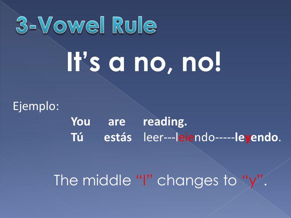 "It's a no, no! Ejemplo: You are reading. Tú estás leer---leiendo-----leyendo. The middle ""I"" changes to ""y""."